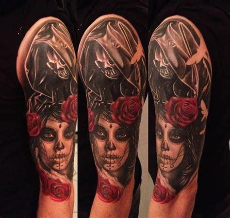 keep silence catrina skull face tattoo design on half