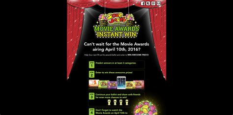 Game Awards 2016 Giveaway - sour jacks mtv movie awards instant win game 2016 sweepstakes lovers