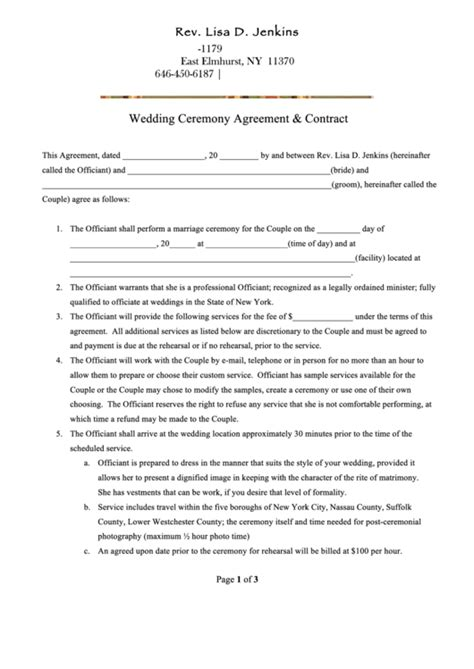 wedding ceremony agreement contract printable