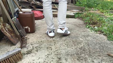 adidas samba white  feet youtube