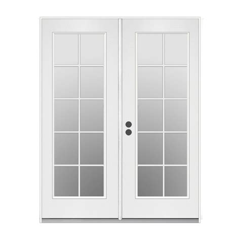 Inswing Patio Doors by Shop Reliabilt 59 5 In 10 Lite Glass Primer White Steel