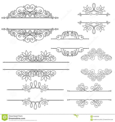 vector set of calligraphic design elements and page