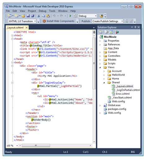 layout view mvc 5 adding a view c the asp net site