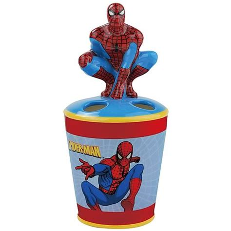 marvel superhero bathroom accessories spider man toothbrush holder westland giftware spider