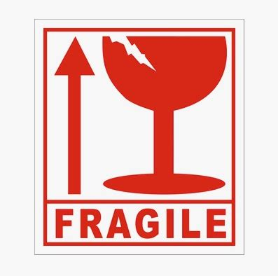 01 Fragile Sticker Label Stiker fragile label fragile cup outside trade fragile handle with care delivery the non