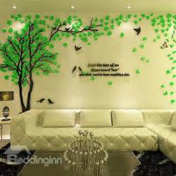 plastic wall murals creative green tree and bird pattern crystal acrylic 3d