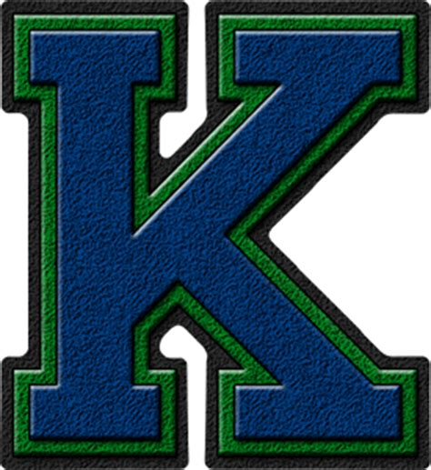 College With Letter K Presentation Alphabets Royal Blue Green Varsity Letter K
