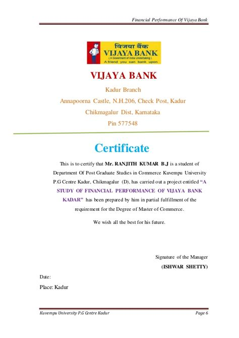 Bank Letter Of Solvency Ranjith J Gowda S Study On Financial Performance Ratio Of Vijaya Ban