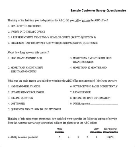 customer survey questions templates 12 customer survey templates free sle exle