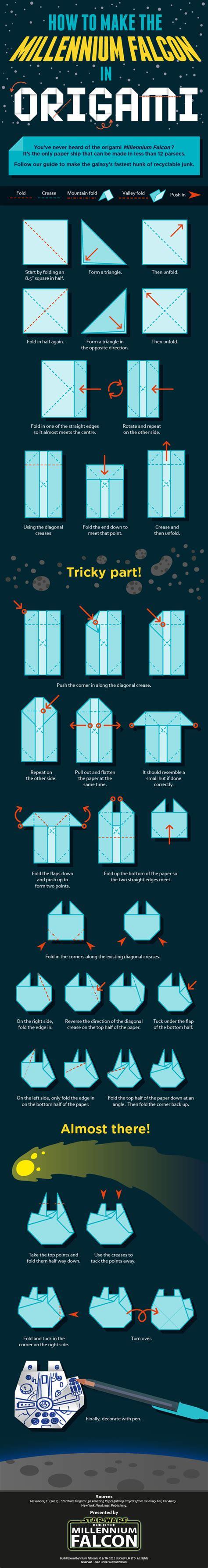 Origami Millenium Falcon - wars trek origami fandom s delight