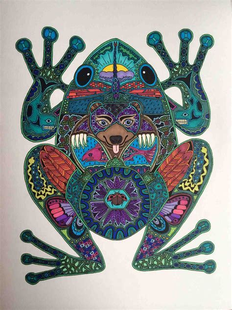 coloring book for adults finished anyone like frogs just finished coloring the second page