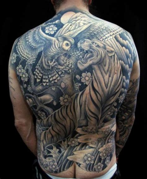 japanese owl tattoo japanese back owl tiger by salt water