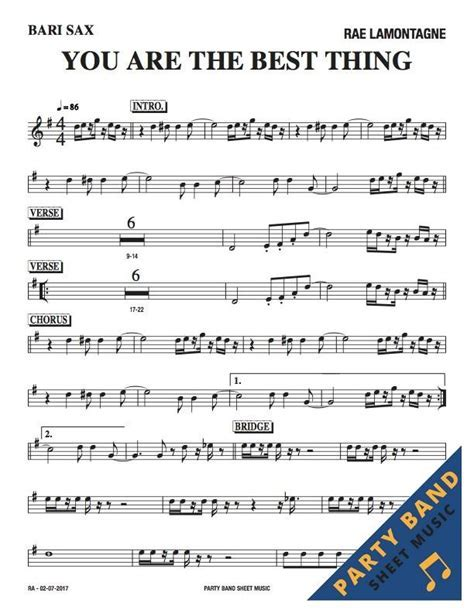 You Are the Best Thing (Rae Lamontagne)   Sheet Music Horn