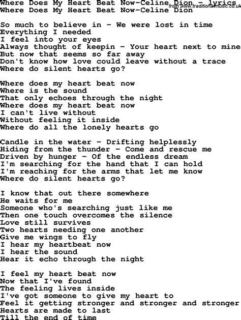heartbeat testo song lyrics for where does my beat now dion