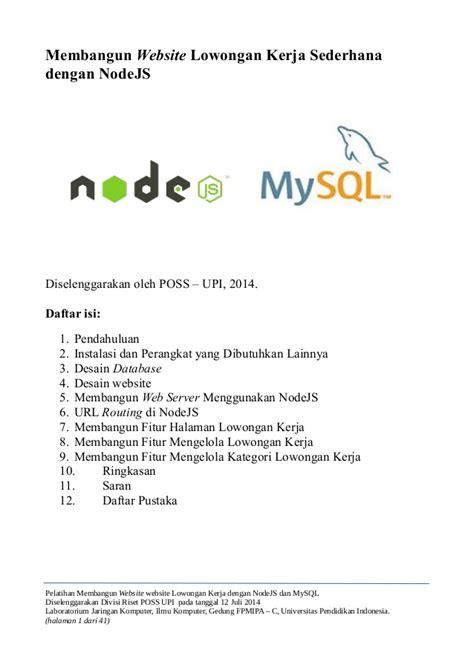 membangun website lowongan kerja sederhana dengan nodejs