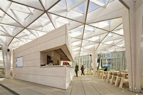 event design edu temporary wooden pavilion is a day lit meeting and event