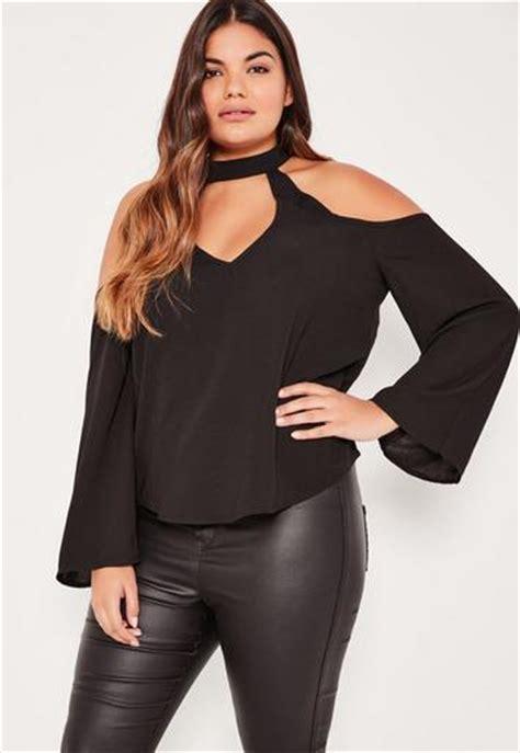 Blacj Choker Blouse 5901 plus size black choker neck cold shoulder blouse missguided