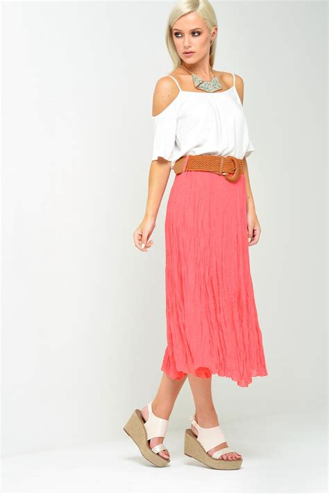 stella beverly flowy midi skirt in coral iclothing