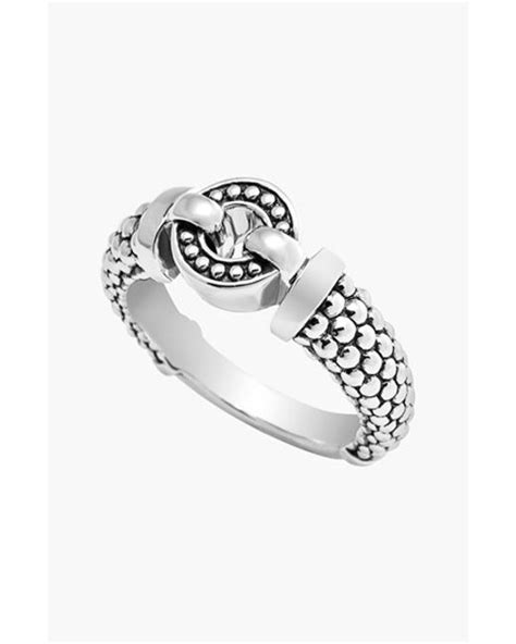 lagos enso circle caviar ring in silver lyst