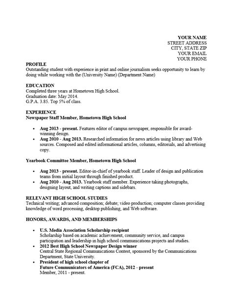 Resume Templates Rich Text Format free high school student resume for college template