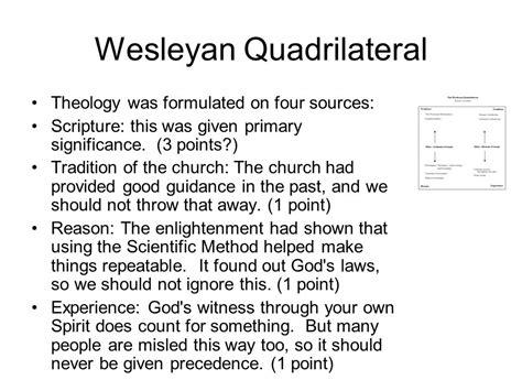 wesleyan quadrilateral diagram wesley and methodism lesson ppt