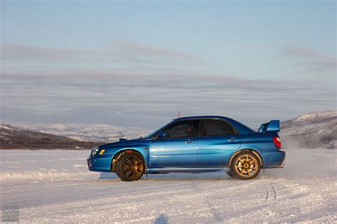 subaru winter drifting on icy roads from norway to lapland