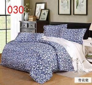 Blue And White Bed Set Blue And White Bedclothes Set Bedding Sets Tribute Silk 4pcs Duvet Cover Quilt Cover Comforters