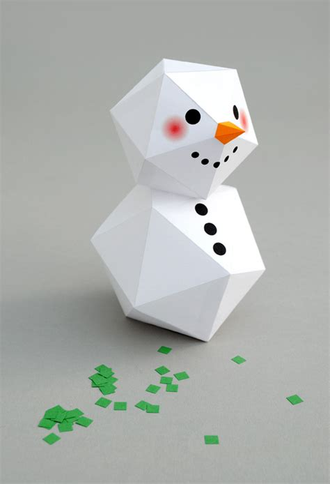 How To Make 3d Snowman Out Of Paper - geometric snowman minieco