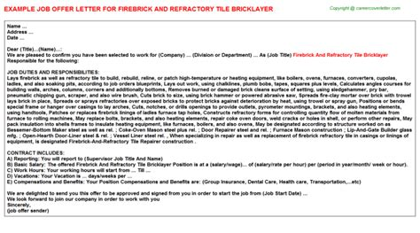 firebrick and refractory tile bricklayer offer letter