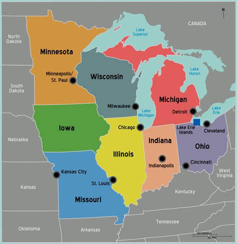 map usa midwest midwest travel guide at wikivoyage