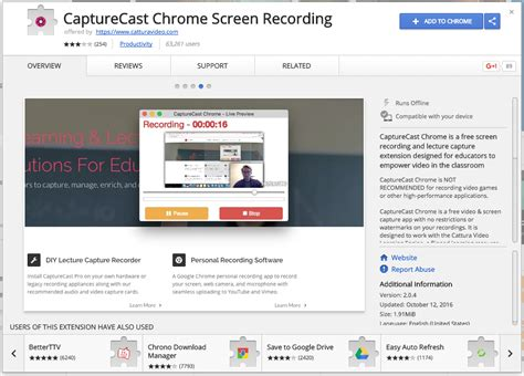 chrome recorder capturecast is another option for recording screencasts