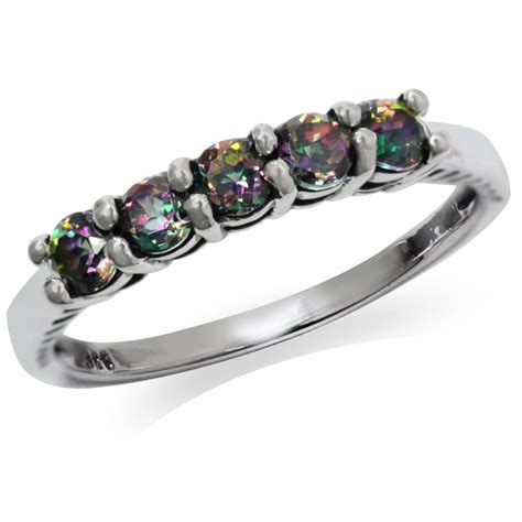5 mystic topaz 925 sterling silver stackable