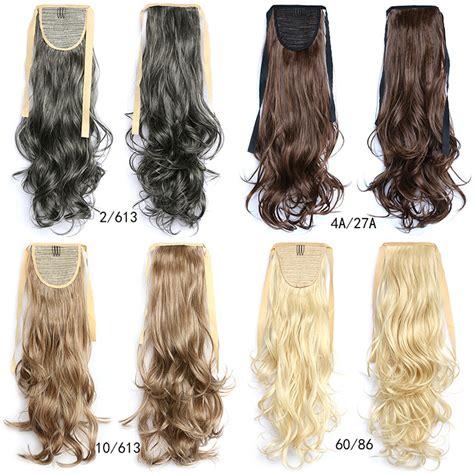 realistic drwa string pony tail hair 22 quot synthetic long wavy drawstring ribbon ponytail hair