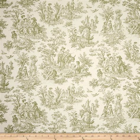 Cotton Upholstery Toile In Sage Green On Cream Cotton Upholstery Fabric By