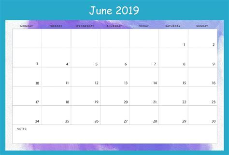 monthly june calendar printable template word