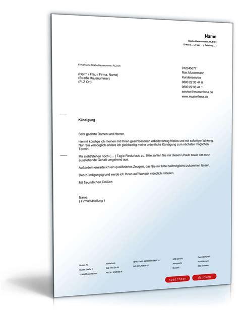 Musterbrief Fristlose Kündigung Arbeitnehmer Muster F 252 R Arbeitnehmer Fristlose K 252 Ndigung Zum