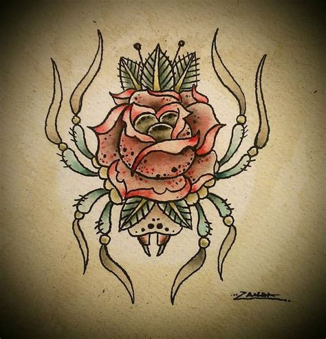 spider rose tattoo spider rose tattoo flash by zandaink d6gos1a jpg 875 215 913