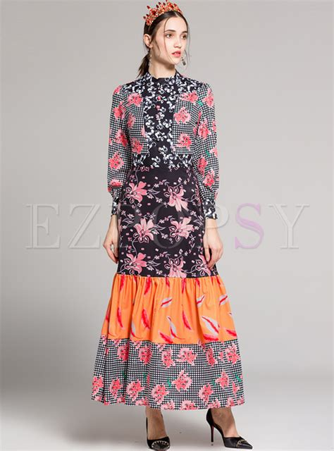 Floral Print Stand Collar Dress chic floral print stand collar maxi dress ezpopsy