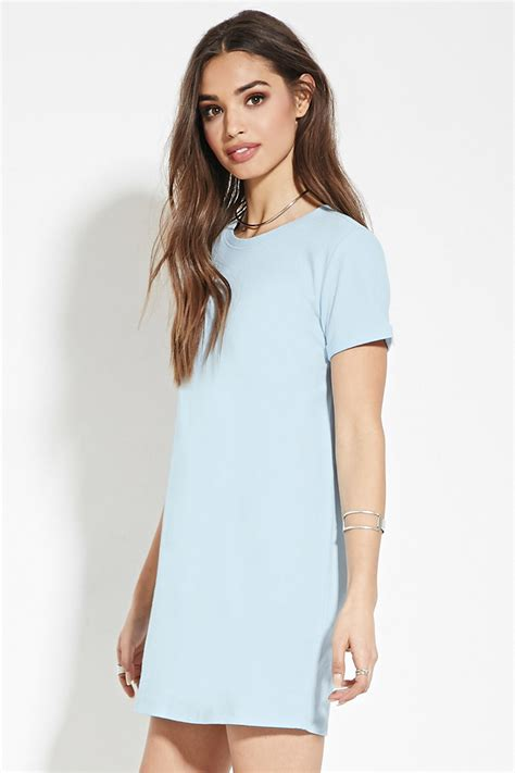 light blue shirt dress lyst forever 21 cotton t shirt dress in blue