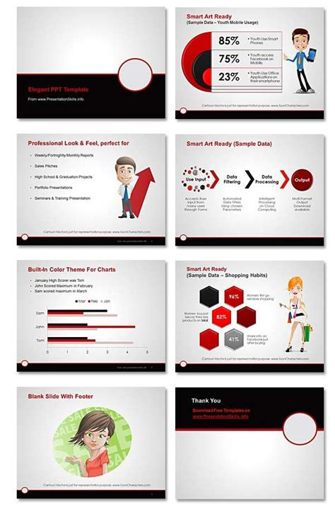 Free Professional Powerpoint Template Maroon Gray Black On Presentationskills Info Http Professional Powerpoint Template Free