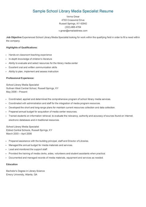 School Library Media Specialist Sle Resume by 17 Best Images About Resame On Skin Care