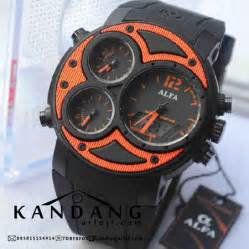 Jam Tangan Pria Original Alfa Dual Time Ad2052 Hitam Jarum Merah jam tangan alfa 047 four time original orange black rubber