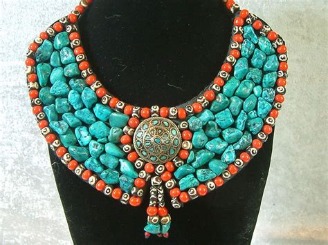 vintage handcrafted tribal turquoise necklace tag