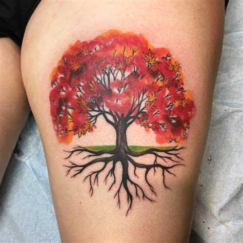 red tree tattoo watercolor style tree tattoos www imgkid the image