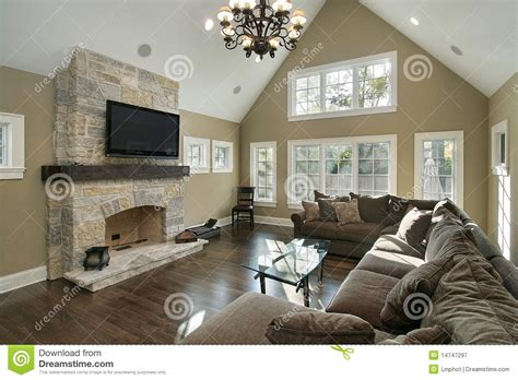 Family Room With Stone Fireplace Royalty Free Stock