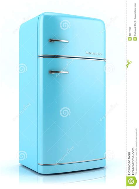 Free Kitchen Design Service Blue Retro Refrigerator 3d Stock Illustration Image