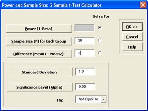 t test calculator sigmaxl power and sle size calculations for two