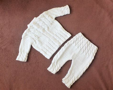 Handmade Knitted Baby Clothes - white baby sweater and knitted baby clothes