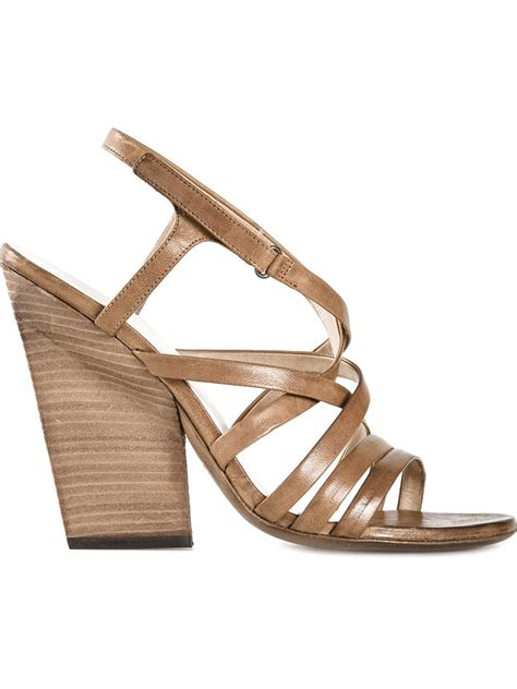 chunky heel sandals lyst mars 232 ll strappy chunky heel sandals in brown