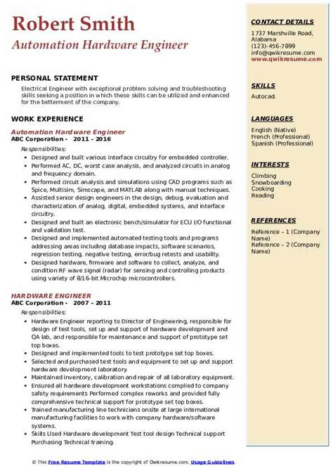 hardware engineer resume samples qwikresume